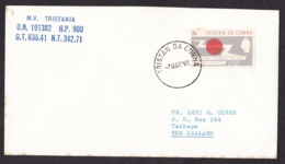 Tristan Da Cunha: Cover To New Zealand, 1968, 1 Stamp, ITU, Telecommunication, Paquebot? Ship Mail? (minor Discolouring) - Tristan Da Cunha