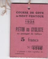 LAISSER PASSER / COURSE DE COTE DU MONT VENTOUX 1934 !! / ETAT NEUF - Automobile - F1