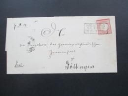 DR Brustschild 1874 Brief Ohne Inhalt Stempel Ra 3 Nienburg A.D. Weser Nach Göttingen Mit Ak Stempel - Deutschland