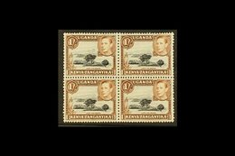 1938-54 1s Black And Brown Block Of Four With One Stamp (top Left) Showing The MOUNTAIN RETOUCH, SG 145+145ac, The Varie - Publishers