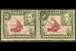 1938-54 50c Purple And Black, Horizontal Pair With One Showing Dot Removed, SG 144eb, Fine Cds Used. For More Images, Pl - Publishers