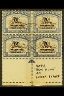 """1941 70c On 1s Brown And Chalky Blue Block Of 4 With The """"arrow"""" Guide Mark In Lower Selvage, The Bottom Pair Shows The  - Publishers"""