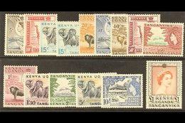 """1954-9 QEII Definitives, Complete Set Plus 15c Redrawn With Stop Below """"c"""" SG 167/80, Never Hinged Mint (15 Stamps). For - Publishers"""