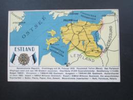 Estland 1933 AK Mit Landkarte Und Informationen + Wappen U. Flagge Nach Soltau Postlagernd. Tall. Eesti Kirj Uh Trukk - Estonia