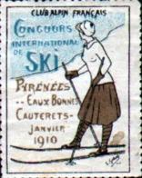 Vignette Club Alpin Francais, Concours  International De Ski, Pyrennees Eaux Bonnes, Cauterets, Janvier 1910 - Erinnofilie