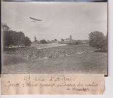 GRAND PRIX D'ANJOU GARROS S BLERIOT PASSANT DES MOULINS DE BRAUDAN  18*13CM Maurice-Louis BRANGER PARÍS (1874-1950) - Aviación