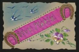 CELLULOID KAART - HANDGESCHILDERD -  VOGEL  BLOEM T   LINT  VIVE MARIE - Fancy Cards