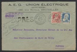 """Grosse Barbe - N°74 Et 76 Perforé Sur DEVANT En Expres Obl Agence """"Bruxelles Agence N°20"""" Vers Fleurus - 1905 Barbas Largas"""