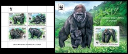 CENTRAL AFRICA 2015 - WWF Gorilla - YT CV=40 €, 3813-6 + BF819 - Unclassified