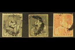 1854-57 (1d) Deep Purple, (1d) Dark Grey, And (1d) Rose-red Britannia Issue On White Paper, SG 9, 10, 12, Each Four Marg - Trinidad & Tobago (...-1961)