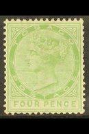 1880 4d Yellow Green, Wmk CC, SG 10, Good Mint. For More Images, Please Visit Http://www.sandafayre.com/itemdetails.aspx - Trinidad & Tobago (...-1961)