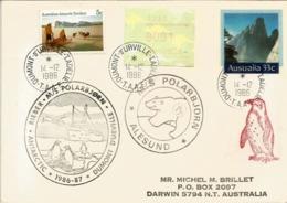 Entier Postal Australien Posté à La Base Dumont D'Urville, Navire MS Polarbjorn.Antarctic Expedition 1986-1987. RARE - Covers & Documents