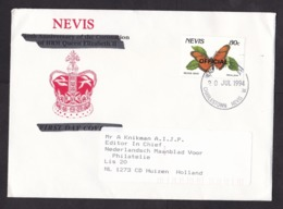 Nevis: Cover To Netherlands, 1994, 1 Stamp, Silver Spot Butterfly, Insect, Overprint Official (traces Of Use) - St.Kitts En Nevis ( 1983-...)