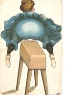 """Comic. Jumping Fat Lady"" Humorous Vintage German Postcard - Humor"