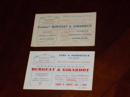 BURGEAT & GIRARDOT à GOURZON Doulevant Montier-en-Der Haute-Marne. 2 CARTES DE VISITE. Champagnes Vins... - Visiting Cards