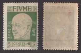 FIUME !!! 1920 5 CT. EFFIGIE DI D'ANNUNZIO !!! 115 - Fiume