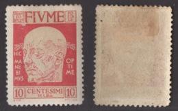 FIUME !!! 1920 10 CT. EFFIGIE DI D'ANNUNZIO !!! 116 - Fiume
