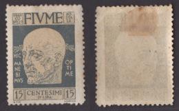 FIUME !!! 1920 15 CT. EFFIGIE DI D'ANNUNZIO !!! 117 - Fiume