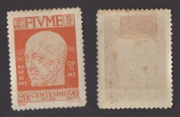 FIUME !!! 1920 20 CT. EFFIGIE DI D'ANNUNZIO !!! 118 - Fiume