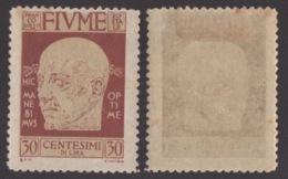 FIUME !!! 1920 30 CT. EFFIGIE DI D'ANNUNZIO !!! 120 - Fiume