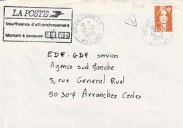 TP N ° 3009 Seul  Sur Enveloppe De  Granville Avec Taxe à Percevoir De 6,20fr - 1961-....