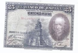 AK-div.28- 206  - Spanien  25. Peseten - 15,8,1928  Nr. B9.110,664 - [ 1] …-1931 : Prime Banconote (Banco De España)
