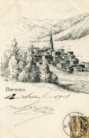 DAVOS - LITHOGRAPHIE De MEITZER -- CARTE PRECURSEUR -- (POSTCARD PRECURSOR) - - GR Grisons