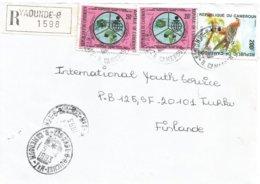 Cameroon Cameroun 1993 Yaounde 8 Savings Bank Eurasian Sparrowhawk Accipiter Nisus Registered Cover - Cameroon (1960-...)