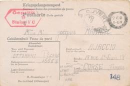 1944 Carte PRISONNIER DE GUERRE Pour AJACCIO CORSE LIBÉRÉE - Stalag VC - CENSURE - Kriegsgefangenenpost - WW2 - Documents Historiques