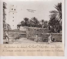 DESSUS DU DÉSERT LAFARGUE BIPLAN H FARMAN AU DESSUS DU SAHARA   18*13CM Maurice-Louis BRANGER PARÍS (1874-1950) - Aviación