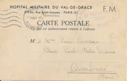Franchise Militaire -PARIS - Hôpital Militaire Du Val De Grace,1942 - Cartes De Franchise Militaire