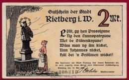 Allemagne 1 Notgeld 2 Mark Stadt Rietberg (RARE)  Dans L 'état N °4758 - [ 3] 1918-1933 : République De Weimar