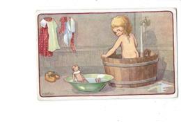 Cpa Illustration Bertiglia, FILLETTE Nue TOILETTE Bassine ROBINET EAU Poupée - 1060/4 - Bertiglia, A.