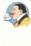 """Comic Man With Padlock In Mouth"" Humorous Vintage Germanpostcard - Humor"