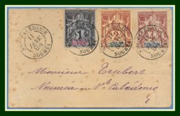 Nouvelle Calédonie N° 41 + 42 + 43 / Devant Lettre Obl Nouméa 11/1/ 1894 > Locale - Neukaledonien