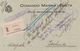 Gaeta. 1942. Cartolina Raccomandata Da Gaeta Ad Ischia, Del COMANDO MARINA GAETA, UFFICIO ARRUOLAMENTO VOLONTARI - Documents