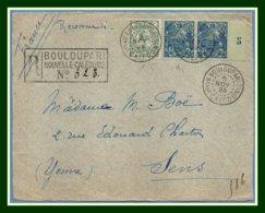 Nouvelle Calédonie N° 95 Paire Millésime 5 + 115 / Devant Lettre Recommandée Obl Bouloupari 1923 > Sens France - Briefe U. Dokumente