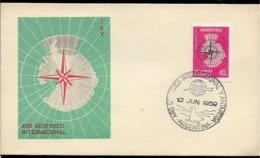 AANT-93 ARGENTINA ANTARCTIC 1958 GEOPHISIC INTERNATIONAL YEAR MAP SPECIAL CANCELATION - Année Géophysique Internationale