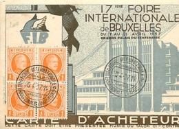 Belgique. TP 190 (x 4)  Carte D'acheteur Obl. Foire Internationale  Internationale Jaarbeurs Bruxelles-Brussel  1937 - 1922-1927 Houyoux