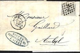 Belgique. TP 10 (x 2)   LAC  Ninove > Tournai  Obl P 88   1860 - 1858-1862 Médaillons (9/12)