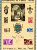 BE   D 513 - 518    Obl   ---   Feuillet Reconstruction Orval Signé Et Numéroté -- 518 Variété V1 COB - Belgique