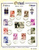 """BE   D 556 - 567    Obl   ---   Feuillet Souvenir 4ème Orval """"Les Moines"""" - Obl. 1er Jour - Numéroté - Belgique"""