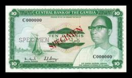 Gambia 10 Dalasis 1972-1986 Pick 6b Specimen SC- AUNC - Gambia