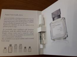 Echantillon Sur Carte  **AQUA UNIVERSALIS Forte ** De Maison KURKDJIAN - Cartes Parfumées