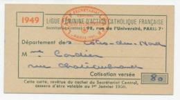 LIGUE FÉMININE D'ACTION CATHOLIQUE FRANÇAISE - Carte De Membre - Département Des Côtes-du-Nord - 1949 - Non Classés
