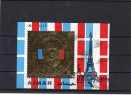 Bloc-souvenir D'Ajman Neuf, Dentelé, Général De Gaulle, Effigie Dorée - Blocs Souvenir