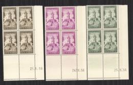 07181  -  Sarre  :  Mi  373-75 Br  ** Coin Daté Bloc De 4 - 1947-56 Occupation Alliée