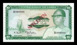 Gambia 10 Dalasis 1972-1986 Pick 6c Specimen SC UNC - Gambia
