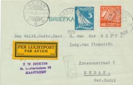 Nederland / Nederlands Indië - 1928 - 5 Cent Olympiade En 40 Cent Luchtpost Op 5e Proefvlucht Van Maastricht Naar Medan - Nederlands-Indië