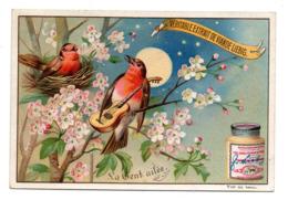 Chromo Liebig S 446 La Gent Ailée Nocturne Pommier Perchoir Nid Oiseau Musicien Instrument Musique Guitare Chant Nuit - Liebig